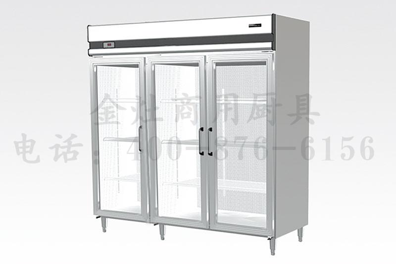 饭店专用三玻璃门展示柜